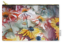 Carry-all Pouch featuring the painting Daisies by Jani Freimann