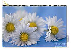 Daisies On Blue Carry-all Pouch by Jan Bickerton