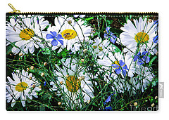Daisies With Blue Flax And Bee Carry-all Pouch
