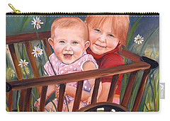 Daisy - Portrait - Girls In Wagon Carry-all Pouch