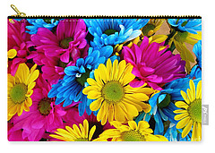 Carry-all Pouch featuring the photograph Daisys Flowers Bloom Colorful Petals Nature by Paul Fearn