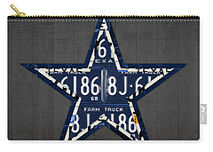 Dallas Cowboys Football Team Retro Logo Texas License Plate Art Carry-all Pouch by Design Turnpike