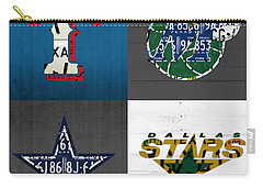 Dallas Sports Fan Recycled Vintage Texas License Plate Art Rangers Mavericks Cowboys Stars Carry-all Pouch