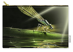 Damsel Dragon Fly  With Sparkling Reflection Carry-all Pouch