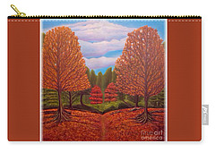 Carry-all Pouch featuring the painting Dance Of Autumn Gold With Blue Skies Revised by Kimberlee Baxter