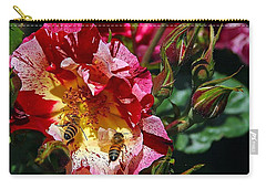Carry-all Pouch featuring the photograph Dancing Bees And Wild Roses by Absinthe Art By Michelle LeAnn Scott