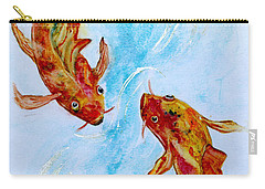 Carry-all Pouch featuring the painting Dancing Koi Sold by Antonia Citrino