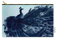 Dancing Peacock Aqua Carry-all Pouch by Anita Lewis