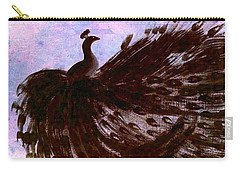 Dancing Peacock Blue Pink Wash Carry-all Pouch by Anita Lewis
