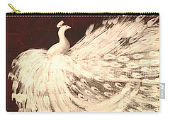 Dancing Peacock Cream Carry-all Pouch by Anita Lewis