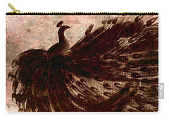 Dancing Peacock Grey Carry-all Pouch by Anita Lewis