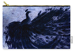 Dancing Peacock Navy Carry-all Pouch by Anita Lewis