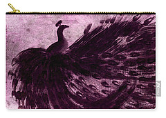 Dancing Peacock Plum Carry-all Pouch by Anita Lewis