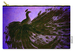 Dancing Peacock Vivid Blue Carry-all Pouch by Anita Lewis