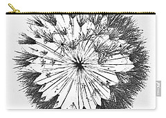 Carry-all Pouch featuring the digital art Dandylion Black On White by Clayton Bruster