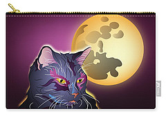 Dark Cat And Full Moon Carry-all Pouch