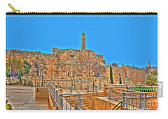 Carry-all Pouch featuring the photograph Davids Citadel - Israel by Doc Braham