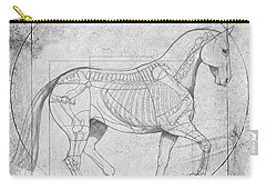 Da Vinci Horse Piaffe Grayscale Carry-all Pouch