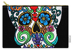 Day Of The Dead Skull Carry-all Pouch by Genevieve Esson