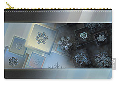 Carry-all Pouch featuring the photograph Snowflake Collage - Daybreak by Alexey Kljatov