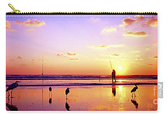 Carry-all Pouch featuring the photograph Daytona Beach Fl Surf Fishing And Birds by Tom Jelen