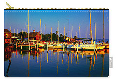 Carry-all Pouch featuring the photograph Daytona Beach Florida Inland Waterway Private Boat Yard With Bird   by Tom Jelen