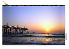 Carry-all Pouch featuring the photograph Daytona Sun Glow Pier  by Tom Jelen