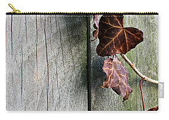 Carry-all Pouch featuring the photograph Dead Ivy And Fence Post by Mary Bedy