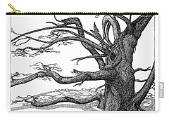 Carry-all Pouch featuring the drawing Dead Tree by Daniel Reed
