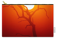 Dead Tree Silhouette And Glowing Sun Carry-all Pouch