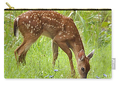 Carry-all Pouch featuring the photograph Little Fawn Blue Wildflowers by Nava Thompson