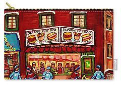 Decarie Hot Dog Restaurant Cosmix Comic Store Montreal Paintings Hockey Art Winter Scenes C Spandau Carry-all Pouch