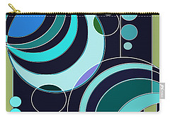 Carry-all Pouch featuring the digital art Deco Circles In Blue by Mary Bedy