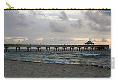 Carry-all Pouch featuring the photograph Deerfield Beach International Fishing Pier Sunrise by Rafael Salazar
