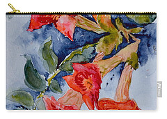 Carry-all Pouch featuring the painting Denim And Brass by Beverley Harper Tinsley