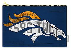 Denver Broncos Football Team Retro Logo Colorado License Plate Art Carry-all Pouch