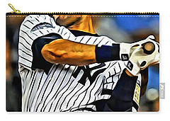 Derek Jeter In Action Carry-all Pouch by Florian Rodarte