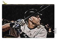 Derek Jeter On Canvas Carry-all Pouch by Florian Rodarte