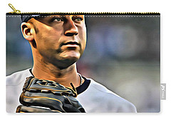 Derek Jeter Portrait Carry-all Pouch by Florian Rodarte