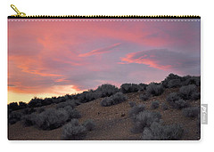 Carry-all Pouch featuring the photograph Desert Sunset by AJ  Schibig