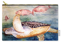 Carry-all Pouch featuring the painting Determined - Loggerhead Sea Turtle by Roxanne Tobaison