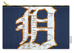 Detroit Tigers Baseball Old English D Logo License Plate Art Carry-all Pouch