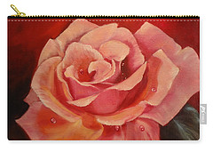 Carry-all Pouch featuring the painting Dew Drops On Pink Rose by Jenny Lee