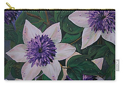 Carry-all Pouch featuring the painting Clematis After The Rain by Sharon Duguay
