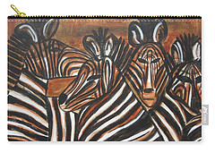 Carry-all Pouch featuring the painting Zebra Bar Crowd by Diane Pape