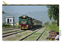 Carry-all Pouch featuring the photograph Diesel Electric Locomotive Speeds Past Student by Imran Ahmed