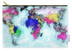 Digital Art Map Of The World Carry-all Pouch