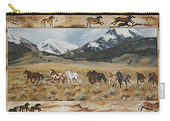 Carry-all Pouch featuring the painting Discovery Horses Framed by Lori Brackett