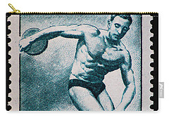 Discus Vintage Postage Stamp Print Carry-all Pouch by Andy Prendy
