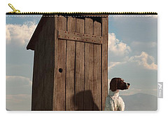 Dog Guarding An Outhouse Carry-all Pouch by Daniel Eskridge